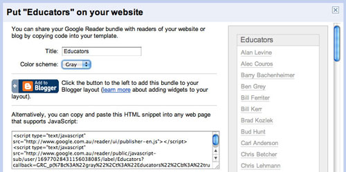 An example of a link roll in Google Reader