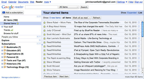 Starred items shown in Google Reader