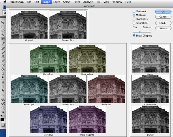 Adjusting Variations in Photoshop CS4