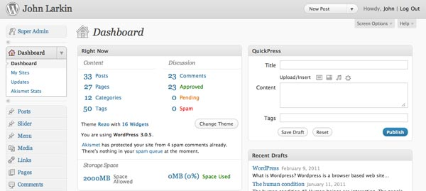 Dashboard in WordPress
