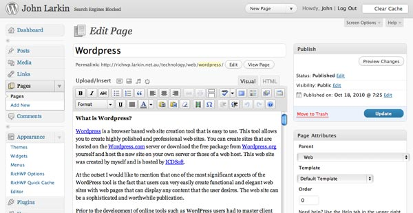 Edit page window in WordPress