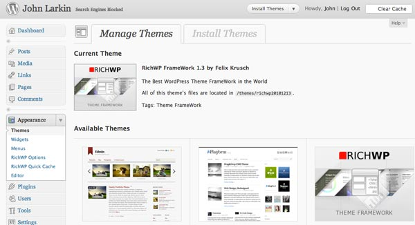 Wordpress theme management page