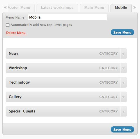 wordpress menu creation