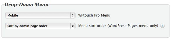 wptouch drop down menu selection