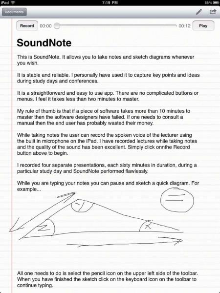 Sound Note iPad  App