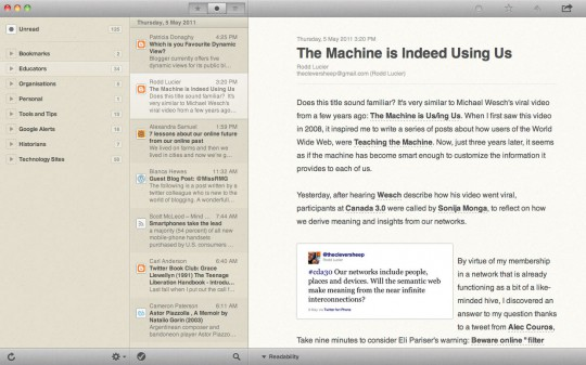 Main window for Reeder application on Mac OS X