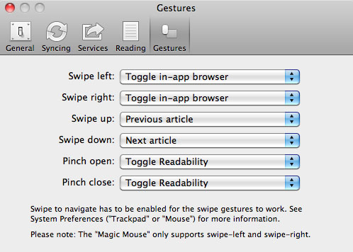 gestures in Reeder on OS X