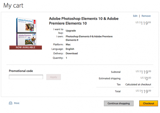 Adobe Elements USA price