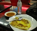 Breakfast of Roti Prata with egg, Changi Village