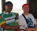 John Larkin and Kenneth Pinto during the journey on the bumboat from Changi Village Singapore to Pengerang Malaysia
