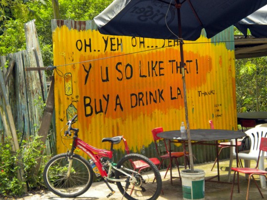 Drink stall with the famous like-lah sign ~ that was the bike I hired