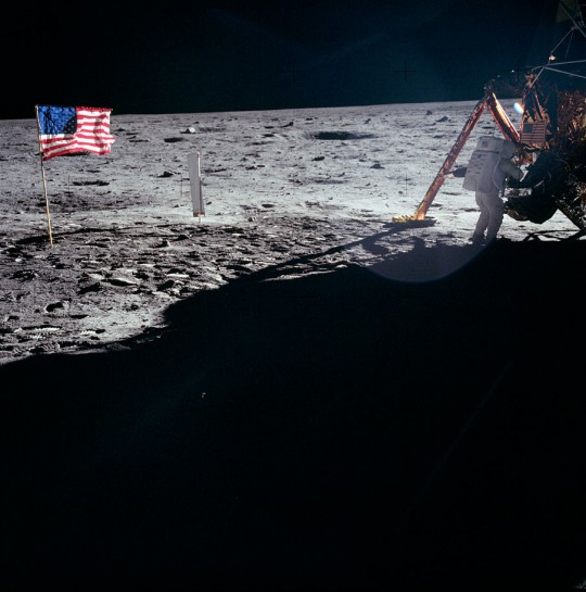 Neil Armstrong on the moon by the LEM
