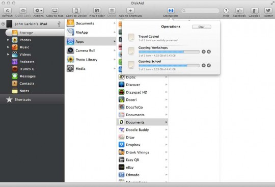 DiskAId file transfer application for the iPad