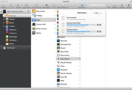 DiskAId file transfer application for the iPad