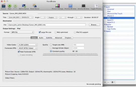 Handbrake DVD and video conversion app