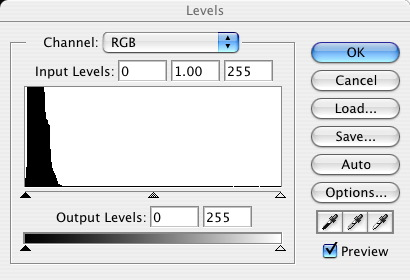 Photoshop levels dialog box before