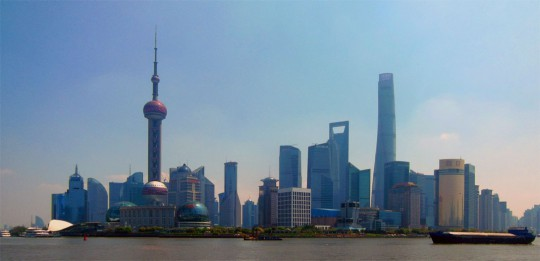 Impressive skyline of the Pudong District, Shanghai, China.